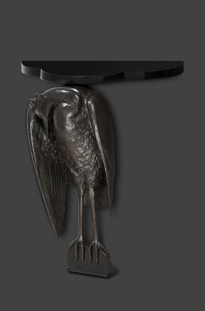 Albert Cheuret, 'Heron console in green patinated bronze with black Belgian marble base and top', ca. 1925