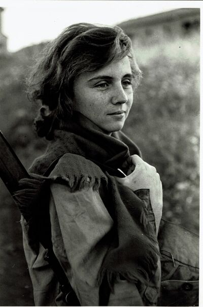 David Seymour, 'vintage print/Young girl preparing for sentry duty. Israel.', 1951