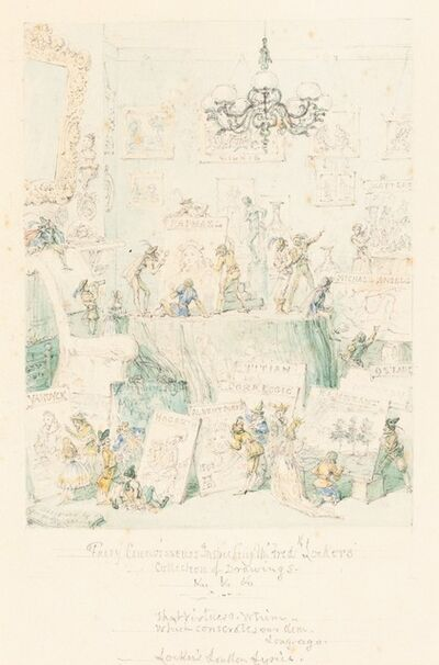 George Cruikshank, 'Fairy Connoisseurs Inspecting Mr. Frederick Locker's Collection of Drawings', 1867