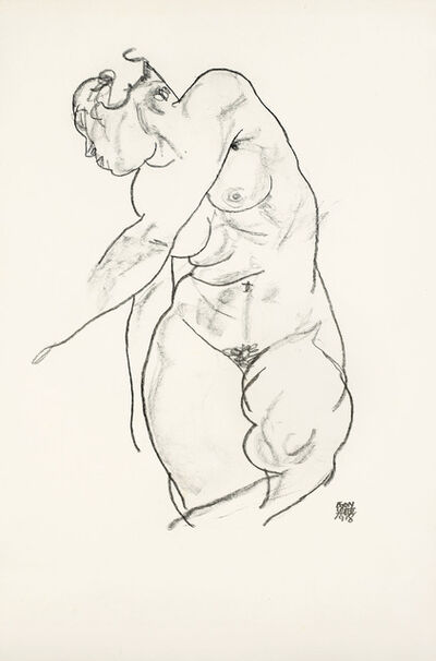 Egon Schiele, 'standed female Nude', 1920