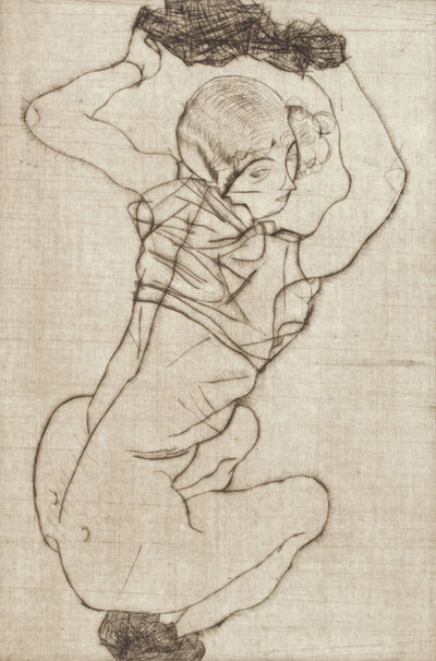 Egon Schiele, 'Squatting Woman', 1914