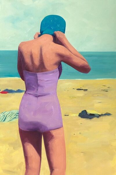 T.S. Harris, '''Beach Swim'' oil painting of a woman at the beach in a purple swimsuit and blue cap', 2019