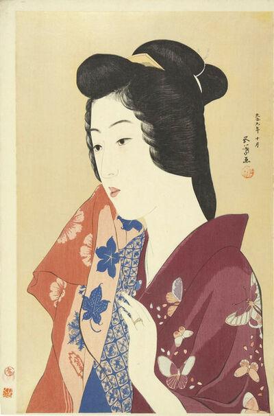 Goyo Hashiguchi, 'Woman Holding a Towel (color varient)', 1920