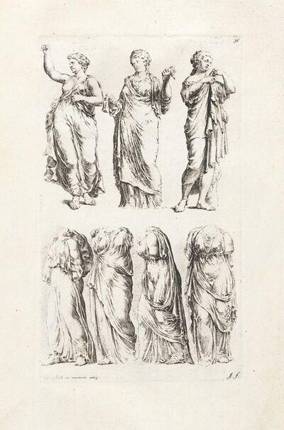 Maerten van Heemskerck, '[Seven draped female statues]', 1731-1741