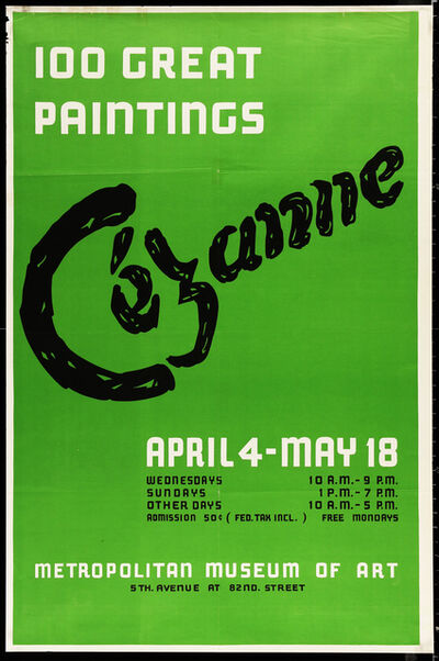 Paul Cézanne, '100 Great Paintings, Cezanne April 4-May 18, Metropolitan Museum of Art Rare Oversize Poster', 1952