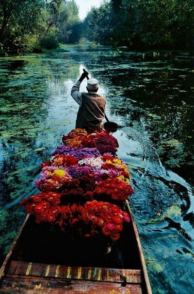 Steve McCurry, 'Flower Seller, Dal Lake, Srinagar, Kashmir', 1996