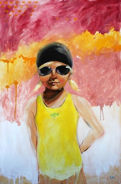 """Debbie Miller, '""""Sunny"""" oil painting of a girl in a yellow swimsuit with red, orange, pink and white background', 2019"""