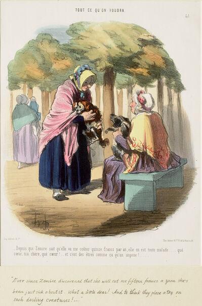 Honoré Daumier, 'Depuis que Zémire sait qu'elle va me coûter quinze francs par an,...', 1848