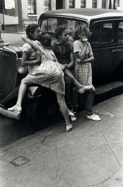 Helen Levitt, 'N.Y.C. (4 girls on car)', 1939