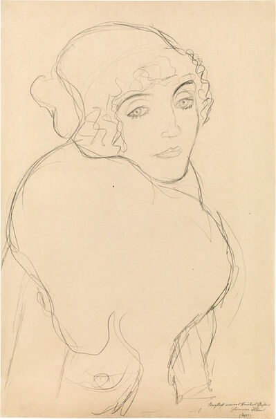 "Gustav Klimt, 'Portrait to the Right (Study for the Portrait ""Der Pelzkragen"")', ca. 1916"