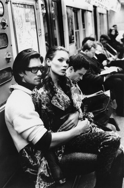 Stephanie Pfriender Stylander, 'Kate Moss and Marcus Schenkenberg on the C train, Harper's Bazaar Uomo, New York', 1992