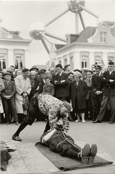 Henri Cartier-Bresson, 'Escape-Artist Performance in front of Atomium, Brussels World Fair', 1958