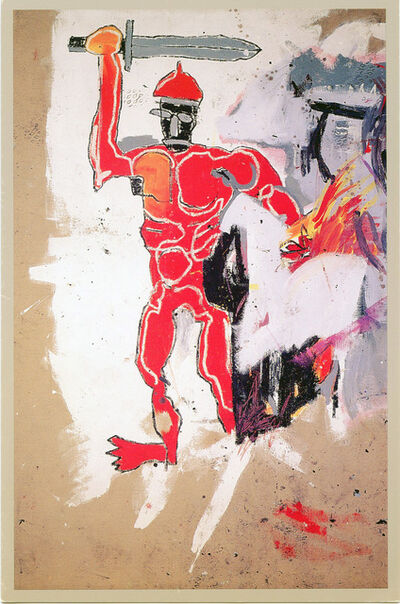 Jean-Michel Basquiat, 'Basquiat at Vrej Baghoomian 1989 (Basquiat Red Warrior) ', 1989