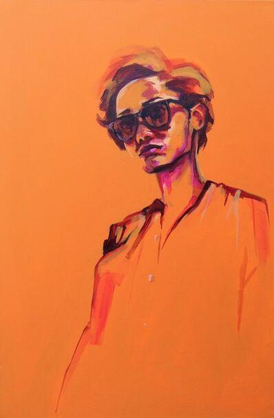 Flo Lee, 'Orange, original signed great reviews vibrant portrait ', 2019