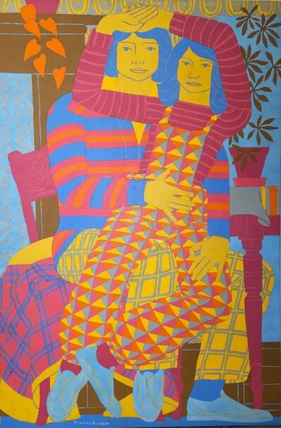 Norman Gilbert, 'Two People, Patterns and Purple Furniture', 1982
