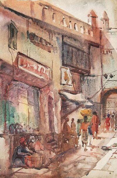 "Sunil Das, 'Benaras, Watercolor Painting, Red, Brown, Blue by Padmashree Sunil Das ""In Stock""', 1948"