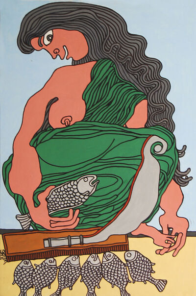 "Prokash Karmakar, 'Fish Seller, Acrylic on Canvas, Green, Brown by Modern Indian Artist ""In Stock""', 2005"
