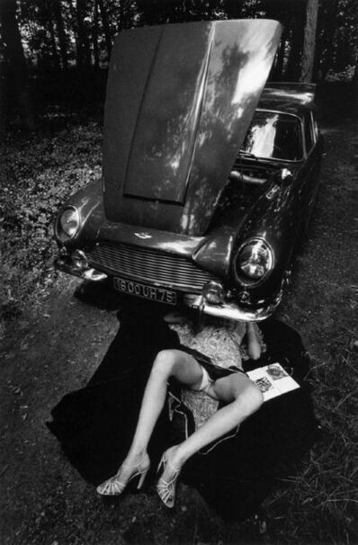Jeanloup Sieff, 'Alone Under a Car with Open Hood, Paris', 1975