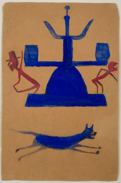 Bill Traylor, 'Untitled, (Blue and Red Construction with Running Dog and Figures)', ca. 1939-42