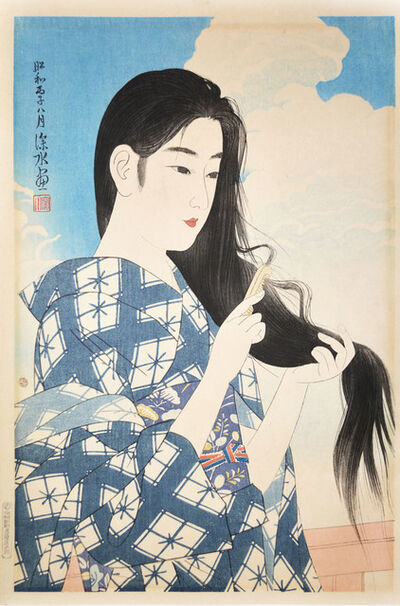 Itō Shinsui, 'Woman Combing Her Hair', august 1936