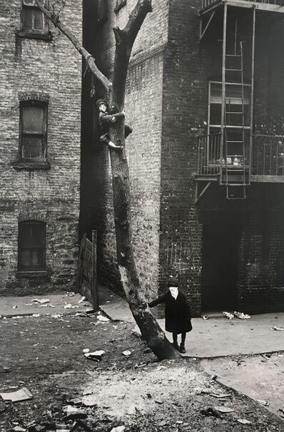 Helen Levitt, 'Helen Levitt New York (2 kids with masks up tree)', 1940