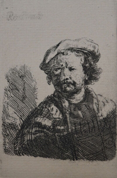 Rembrandt van Rijn, 'Self Portrait in a Flat Cap and Embroidered Dress', Etched c. 1642, Printed in 1906 (Beaumont, Paris)