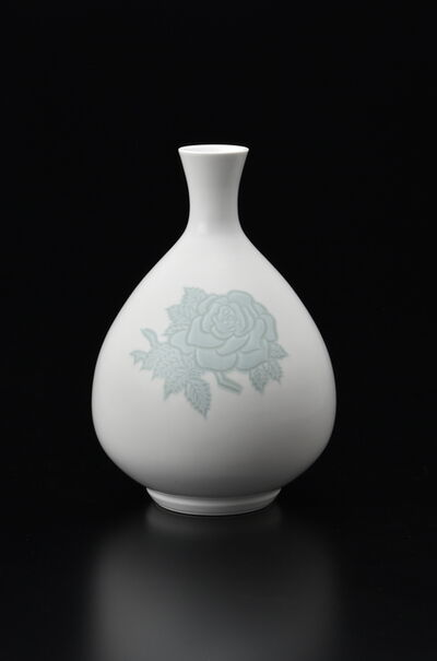 Manji Inoue, 'Engraved Hakuji (white porcelain) Rose Vase with Green Glaze', 2019