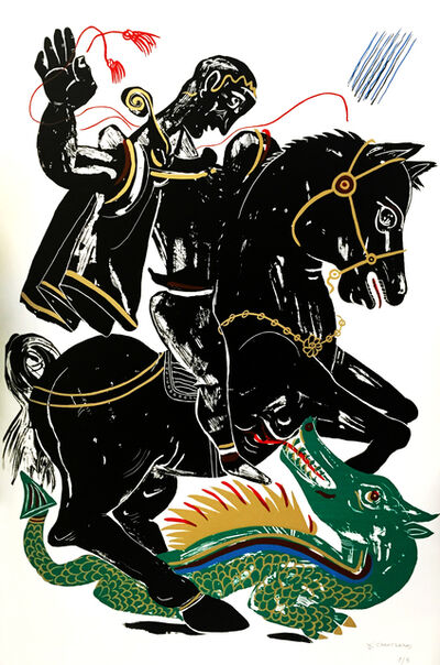 Apostolos Chantzaras, 'Hero - Black and Green', 2015