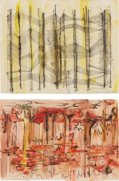 Dorothy Dehner, 'Untitled (black/yellow); and Untitled (red/black)', 1955 and 1959