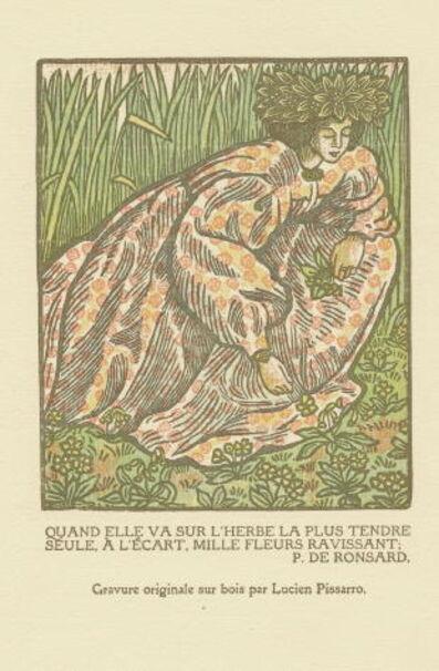 Lucien Pissarro, 'Quand elle va sur l'herbe... / Girl Picking Flowers', 1902