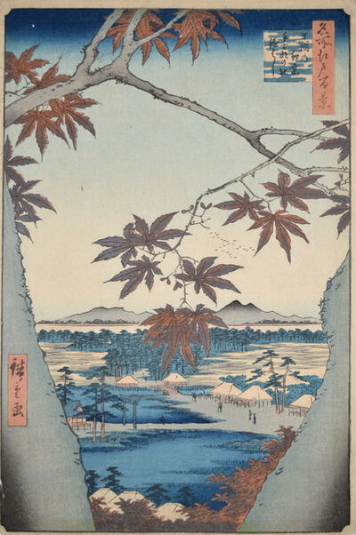 Utagawa Hiroshige (Andō Hiroshige), 'Maple at Mama and Tekona Shrine', 1857