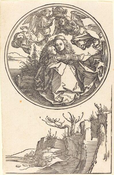 Albrecht Dürer, 'The Virgin Crowned by Two Angels above a Landscape', in or before 1515