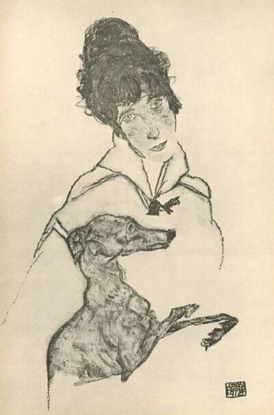 Egon Schiele, 'Woman with Greyhound', 1917