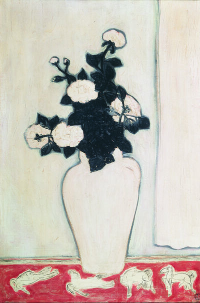 Sanyu, 'White Peonies and Four Ponies', 1930