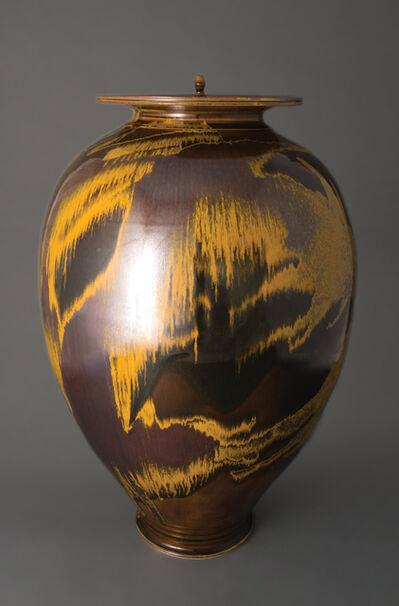 Brother Thomas Bezanson, 'Vase with alternate lids, iron yellow glaze'