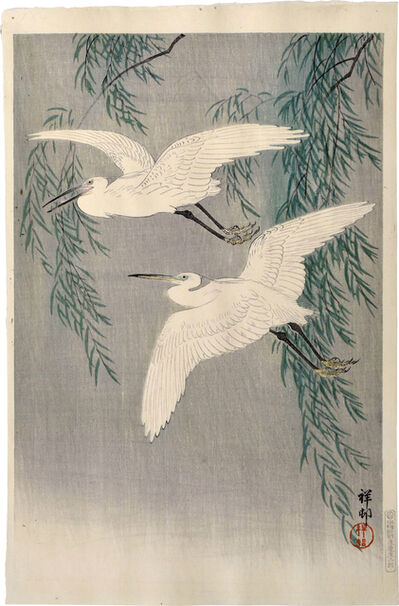 Ohara Koson, 'Egrets and Willow', ca. 1926