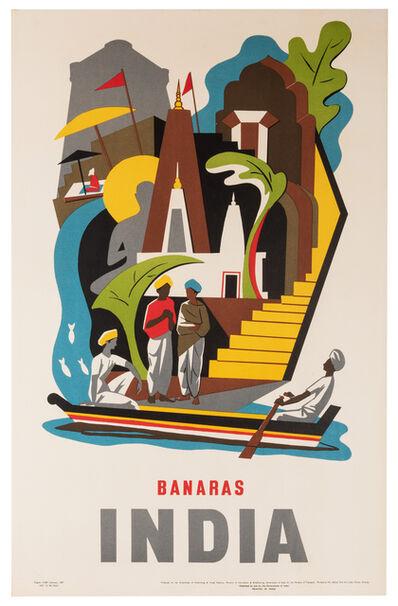 Vintage Travel Poster, 'Banaras, India', 1957