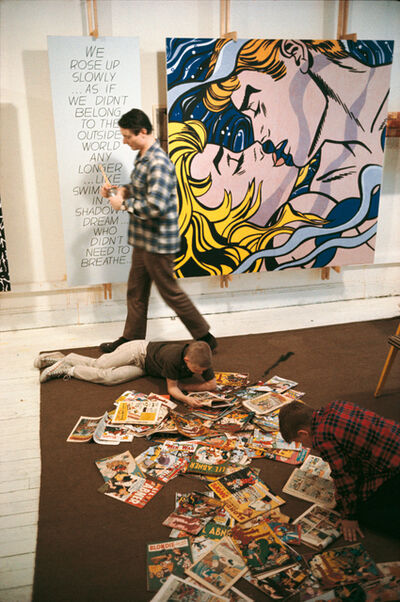 """Dan Budnik, 'Roy Lichtenstein (1923 - 1997)  with sons David and Mitchell, West 26th Street studio, New York, 1964 with """"We Rose Up Slowly""""'"""