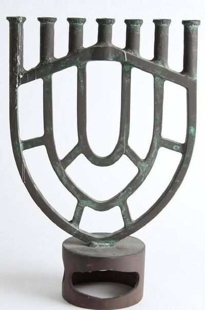 Gloria Kisch, 'Heavy Bronze Modernist Menorah Candelabra Sculpture', 20th Century