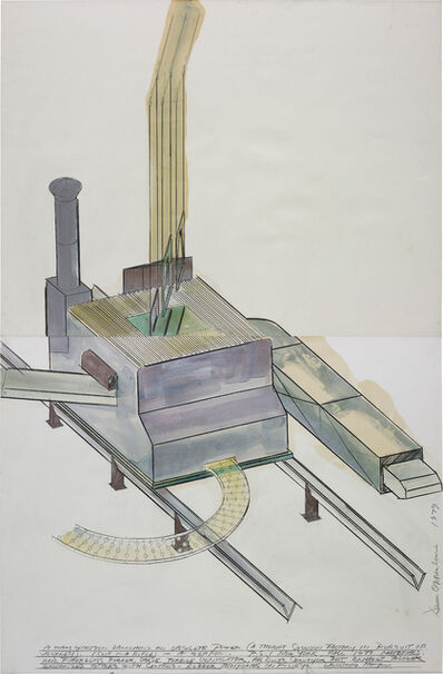 Dennis Oppenheim, 'A Way Station Launching an Obsolete Power (A Thought Collision Factory in Pursuit of a Journey) (A Clip in a Rifle - a Weapon)', 1979