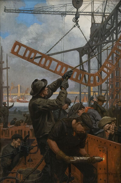 Gerrit Albertus Beneker, 'Building of Manhattan Bridge', 1909