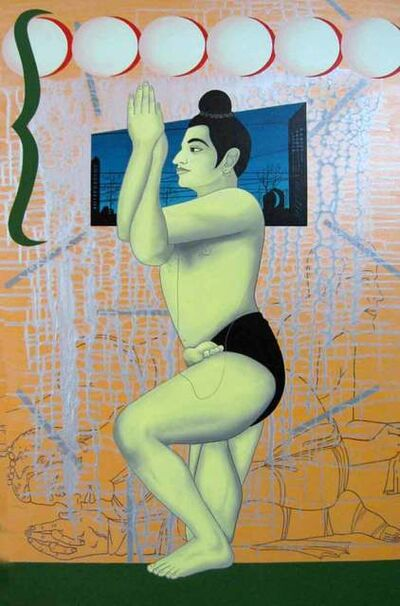 "Birendra Pani, 'Boy Dancer, Acrylic on Canvas, Blue, Green, Orange by Contemporary Artist ""In Stock""', 2000-2018"