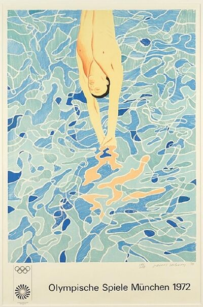 David Hockney, 'Limited Edition Lithograph for 1972 Olympics (Hand Signed)', 1970