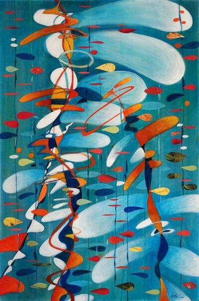 Sherry Tseng Hill, 'Fibonacci Rattles My Seaweed Bones - contemporary, science, math, abstract, organic, collage, bright, blue', 2019