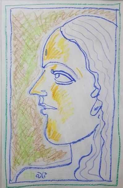 "Jogen Chowdhury, 'Untitled, Colour Pastel on Paper, Green, Yellow, Blue colours by Modern Artist ""In Stock""', 1995"