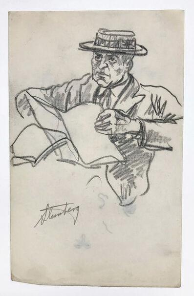 harry sternberg, 'Man with Hat, Reading', circa 1945