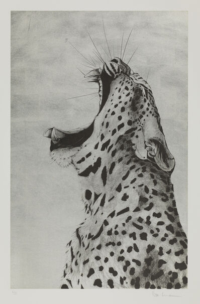 Rose Corcoran, 'Leopard Sound on 12ct Gold Leaf Silkscreen'