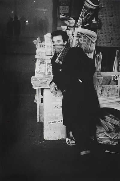 Colin Jones, 'The big London fog, A newspaper seller at the entrance of the Tube', 1962