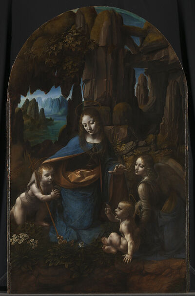 Leonardo da Vinci, 'The Virgin with the Infant Saint John the Baptist adoring the Christ Child accompanied by an Angel ('The Virgin of the Rocks')', about 1491/2–9 and 1506– 9