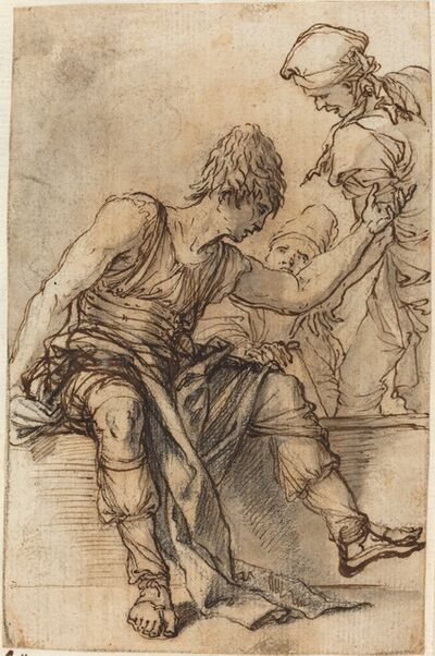 Salvator Rosa, 'Youth Sitting on a Wall in Conversation with Two Men', ca. 1656/1657